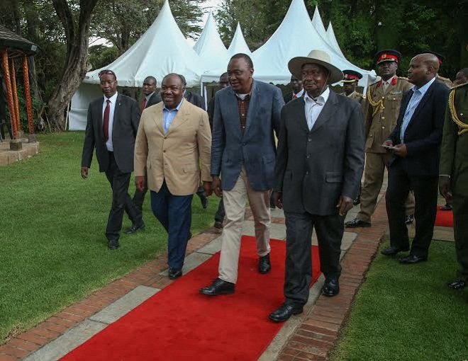 Bongo, Kenyatta and Museveni uring the Giants Summit in Nairobi early this year.
