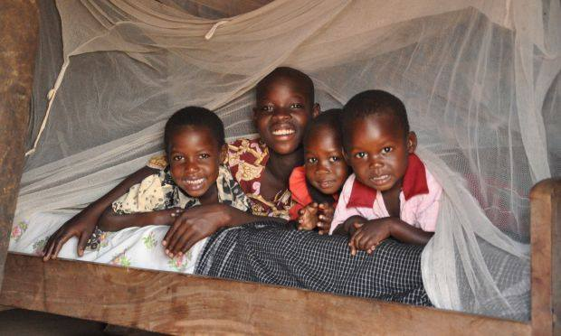 Children play under a mosquito net. Nets help prevent mosquitoes biting those who sleep