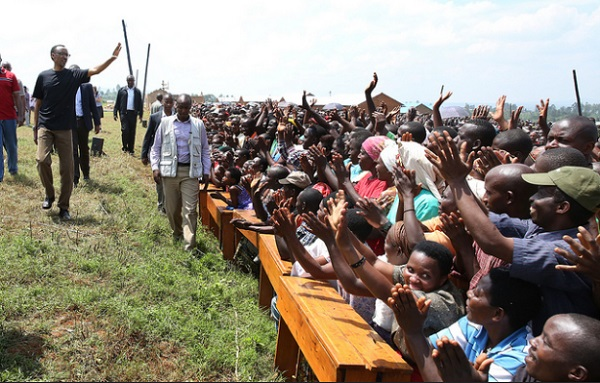 FILE PHOTO: President Kagame joins Masaka residents in Umuganda to build homes for the vulnerable - Kicukiro, 22 February 2014