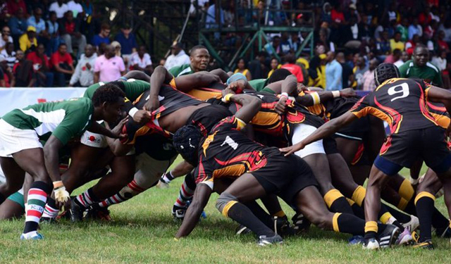 Kenya Simbas and Rugby Cranes during a scrum Saturday evening at RFUEA grounds in Nairobi. Photo via @ntvuganda