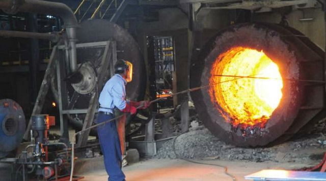 Steel processing at Roofings rolling mills