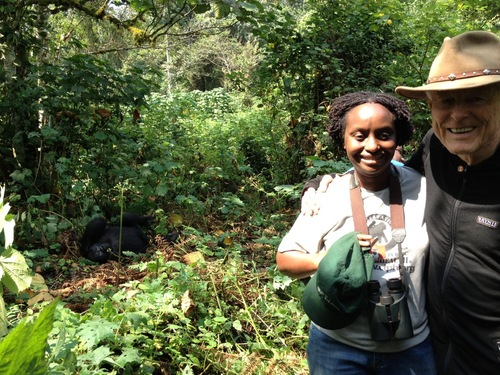 WINGS Fellow Gladys Kalema-Zikusoka shows Alan Nichols, president of the Explorers Club, the gorillas she is working with in the Biwindi National Forest in Uganda.