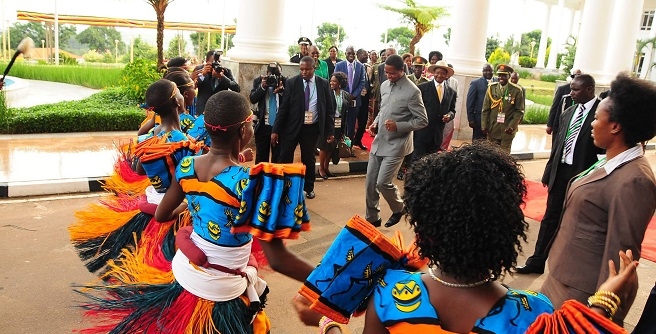 Lungu dances when he was last in Uganda early this year.