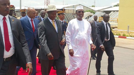 Uganda president Yoweri Museveni is among the leaders in Chad for Deby's swearing in ceremony.